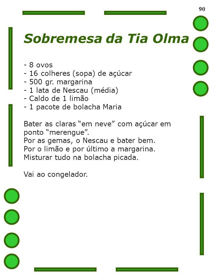 90 Sobremesa da Tia Olma - 8 ovos - 16 colheres (sopa) de açúcar - 500 gr. margarina - 1 lata de Nescau (média) - Caldo de 1 limão - 1 pacote de bolac