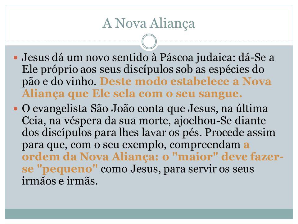 A Nova Aliança Jesus dá um novo sentido à Páscoa judaica: dá-Se a Ele próprio aos seus discípulos sob as espécies do pão e do vinho. Deste modo estabe