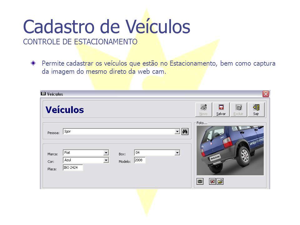 Cadastro de Veículos CONTROLE DE ESTACIONAMENTO Permite cadastrar os veículos que estão no Estacionamento, bem como captura da imagem do mesmo direto