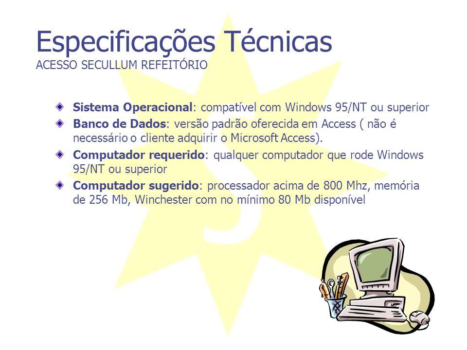 Especificações Técnicas ACESSO SECULLUM REFEITÓRIO Sistema Operacional: compatível com Windows 95/NT ou superior Banco de Dados: versão padrão ofereci