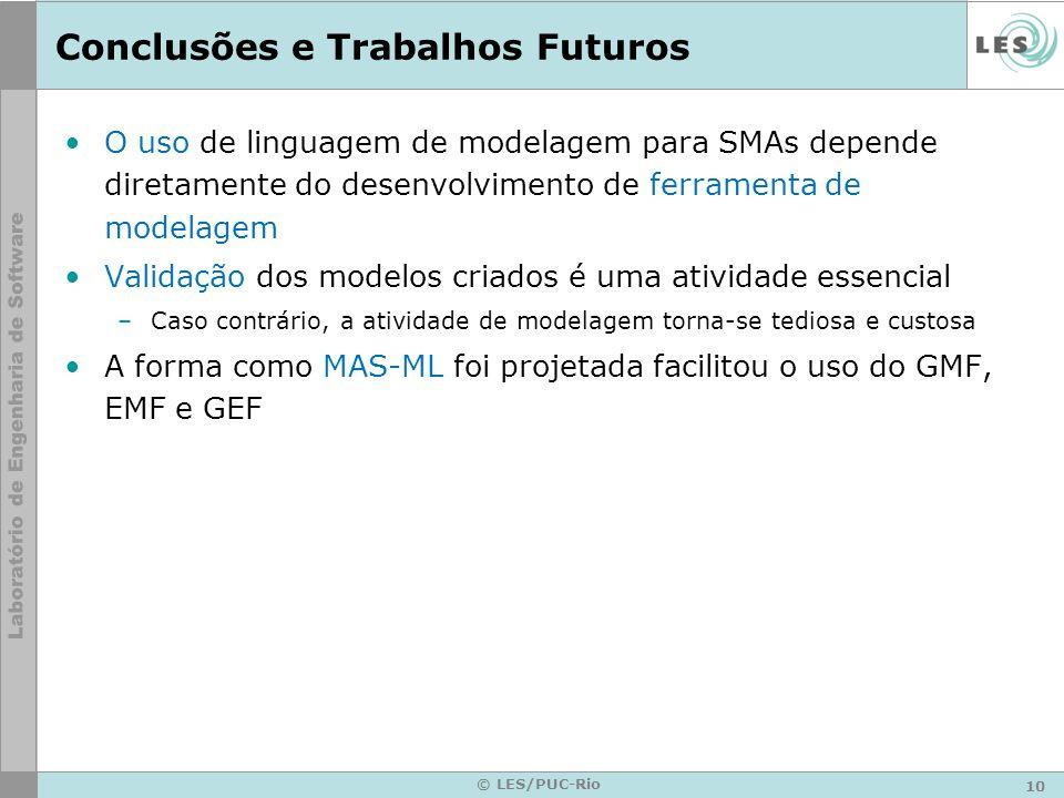 10 © LES/PUC-Rio Conclusões e Trabalhos Futuros O uso de linguagem de modelagem para SMAs depende diretamente do desenvolvimento de ferramenta de mode