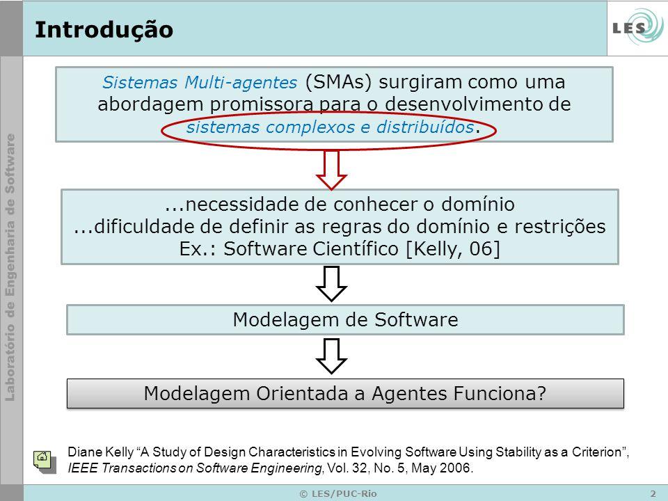 2 © LES/PUC-Rio Introdução Sistemas Multi-agentes (SMAs) surgiram como uma abordagem promissora para o desenvolvimento de sistemas complexos e distrib