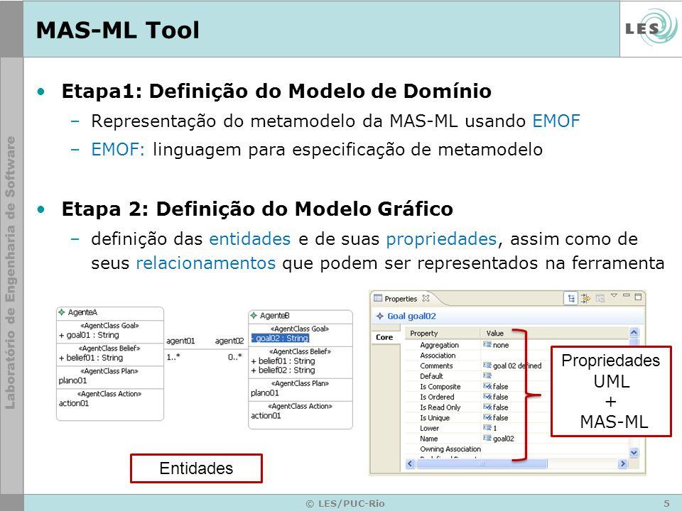 6 © LES/PUC-Rio MAS-ML Tool Etapa 3: Definição do Modelo de Ferramenta –especificação de quais elementos farão parte da paleta da ferramenta Etapa 4: Definição do Mapeamento –modelo de domínio, modelo gráfico, modelo de ferramenta –mapeamento geração de código Etapa 5: Geração da Ferramenta –GMF (Graphical Eclipse Framework ) –EMF (Eclipse Modeling Framework) –GEF (Graphical Eclipse Framework)
