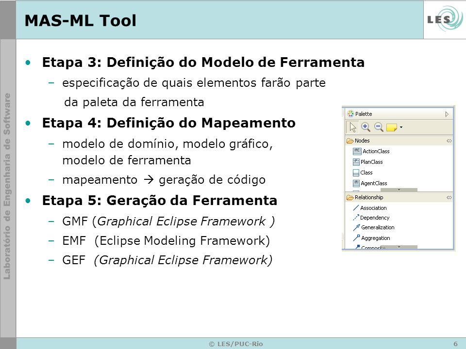 6 © LES/PUC-Rio MAS-ML Tool Etapa 3: Definição do Modelo de Ferramenta –especificação de quais elementos farão parte da paleta da ferramenta Etapa 4: