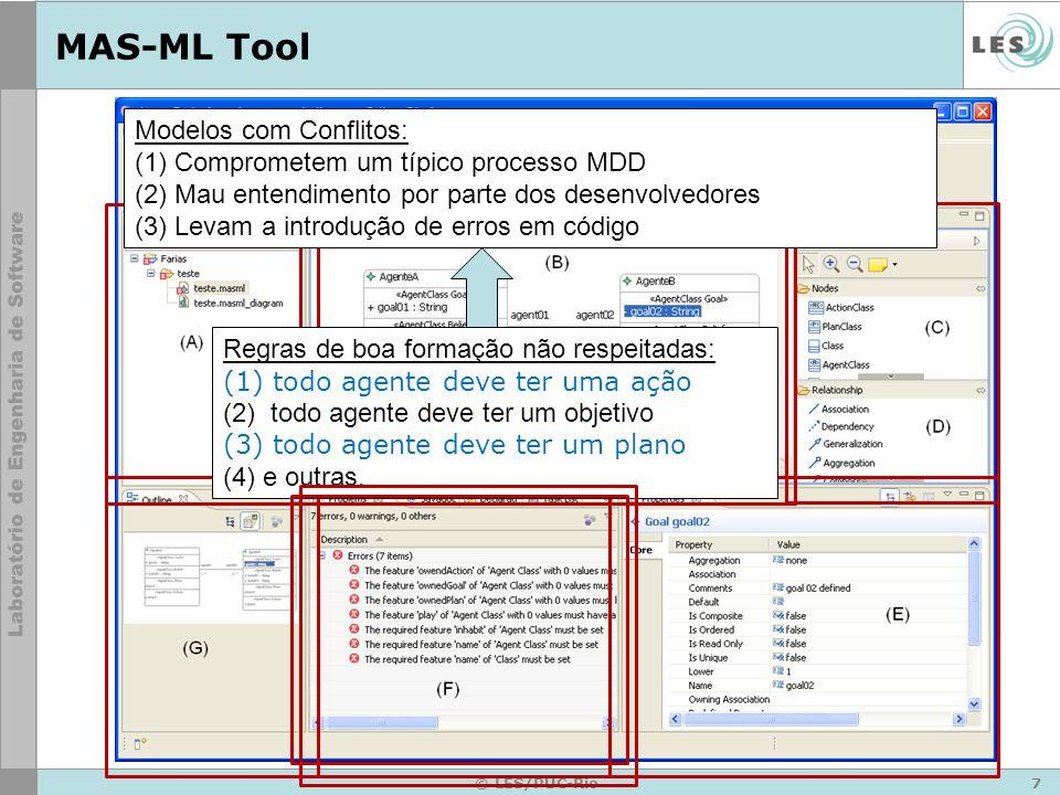 8 © LES/PUC-Rio MAS-ML Tool Conhecer a linguagem em detalhes (D1 e D2) –conhecer os conceitos e os relacionamentos definidos no metamodelo da MAS-ML e UML –conhecer restrições aplicadas aos elementos do metamodelo –modelo criado manualmente pode apresentar inconsistência ao ponto de torná-lo inválido Dificuldade na representação dos elementos da linguagem (D1 e D3 ) –Para ter uma boa comunicação é fundamental que os modelos sejam de fácil compreensão e entendimento –ambigüidade e inconsistência dos modelos como uma conseqüência do mau uso Benefícios e Limitações
