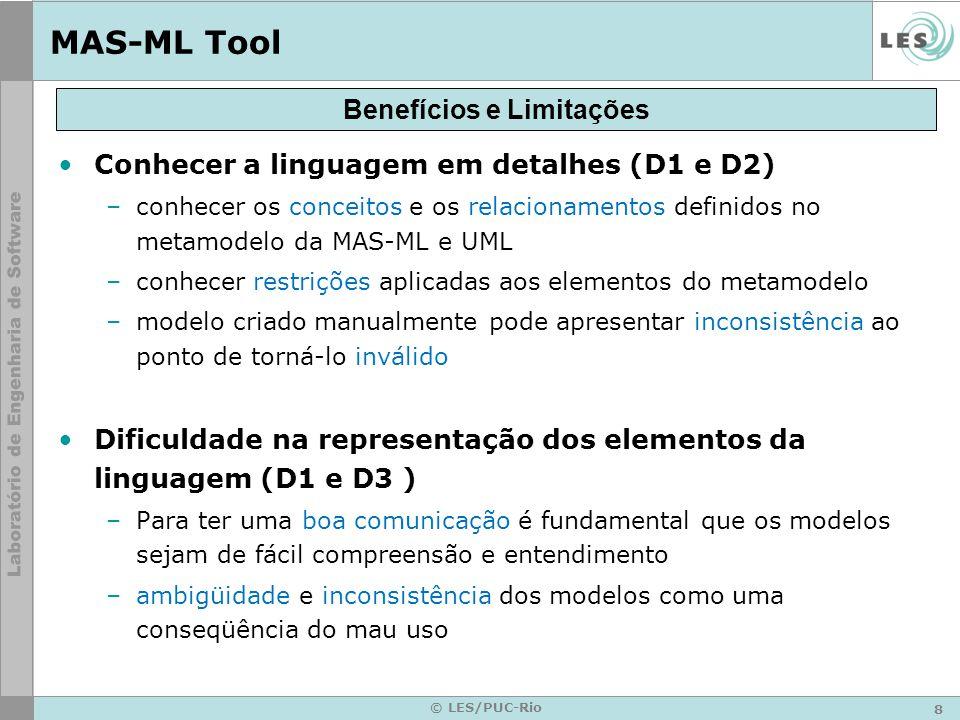 9 © LES/PUC-Rio MAS-ML Tool Validação do modelo (D1 e D4) –todo modelo criado deve ser validado em relação às restrições definidas no metamodelo da linguagem –inconsistências não detectadas na criação dos modelos passarão a serem custosas quando identificada na fase de implementação.