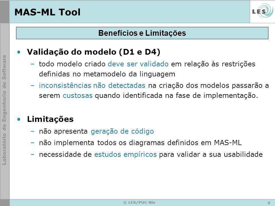 9 © LES/PUC-Rio MAS-ML Tool Validação do modelo (D1 e D4) –todo modelo criado deve ser validado em relação às restrições definidas no metamodelo da li