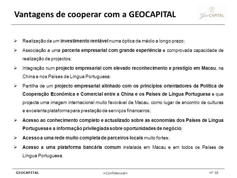 GEOCAPITALnº 18 =Confidencial= Vantagens de cooperar com a GEOCAPITAL Realização de um investimento rentável numa óptica de médio a longo prazo; Assoc