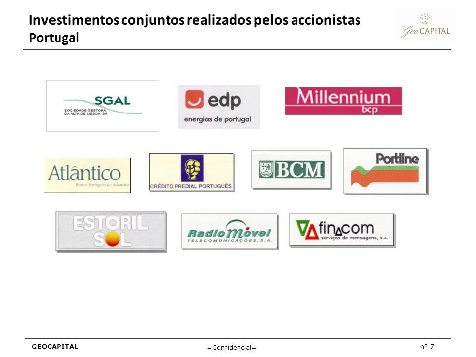 GEOCAPITALnº 7 =Confidencial= Investimentos conjuntos realizados pelos accionistas Portugal