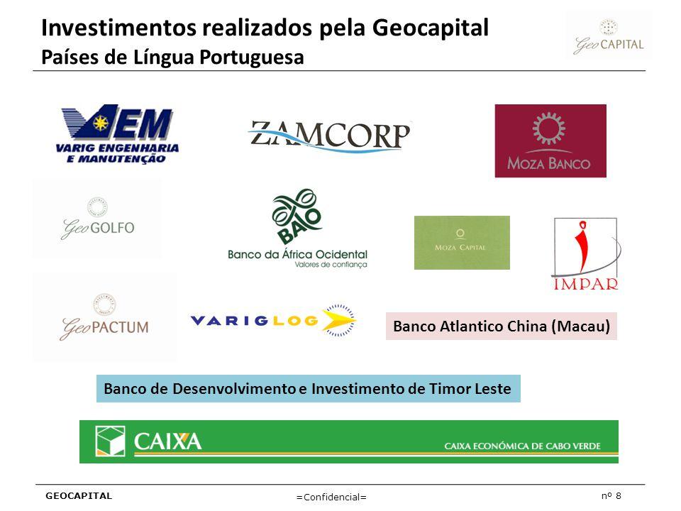 GEOCAPITALnº 8 =Confidencial= Investimentos realizados pela Geocapital Países de Língua Portuguesa Banco Atlantico China (Macau) Banco de Desenvolvime