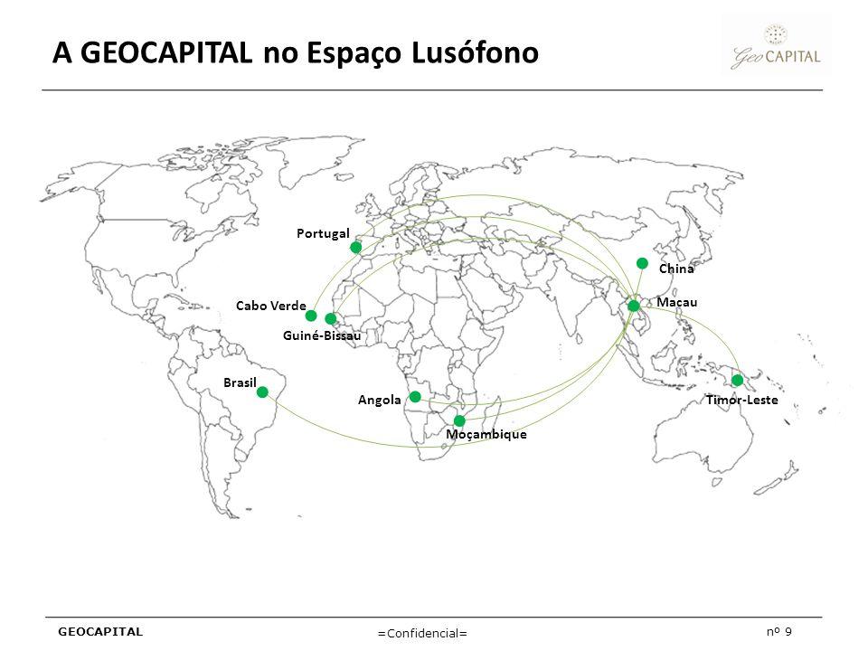 GEOCAPITALnº 9 =Confidencial= A GEOCAPITAL no Espaço Lusófono Portugal Cabo Verde Guiné-Bissau Brasil Angola Moçambique Timor-Leste Macau China