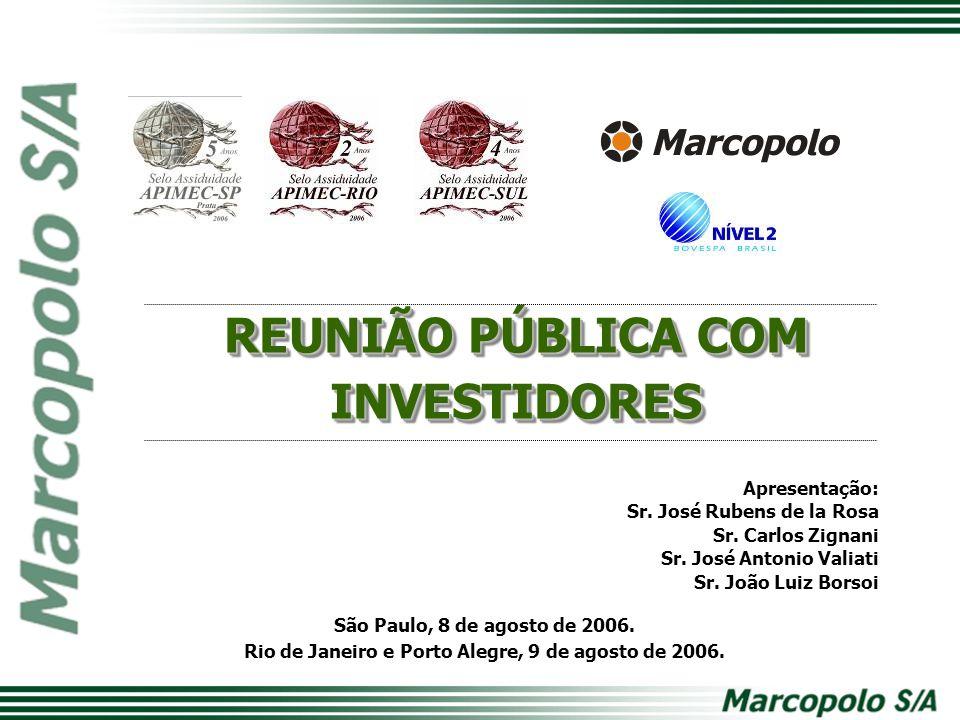 São Paulo, 8 de agosto de 2006. Rio de Janeiro e Porto Alegre, 9 de agosto de 2006. Apresentação: Sr. José Rubens de la Rosa Sr. Carlos Zignani Sr. Jo