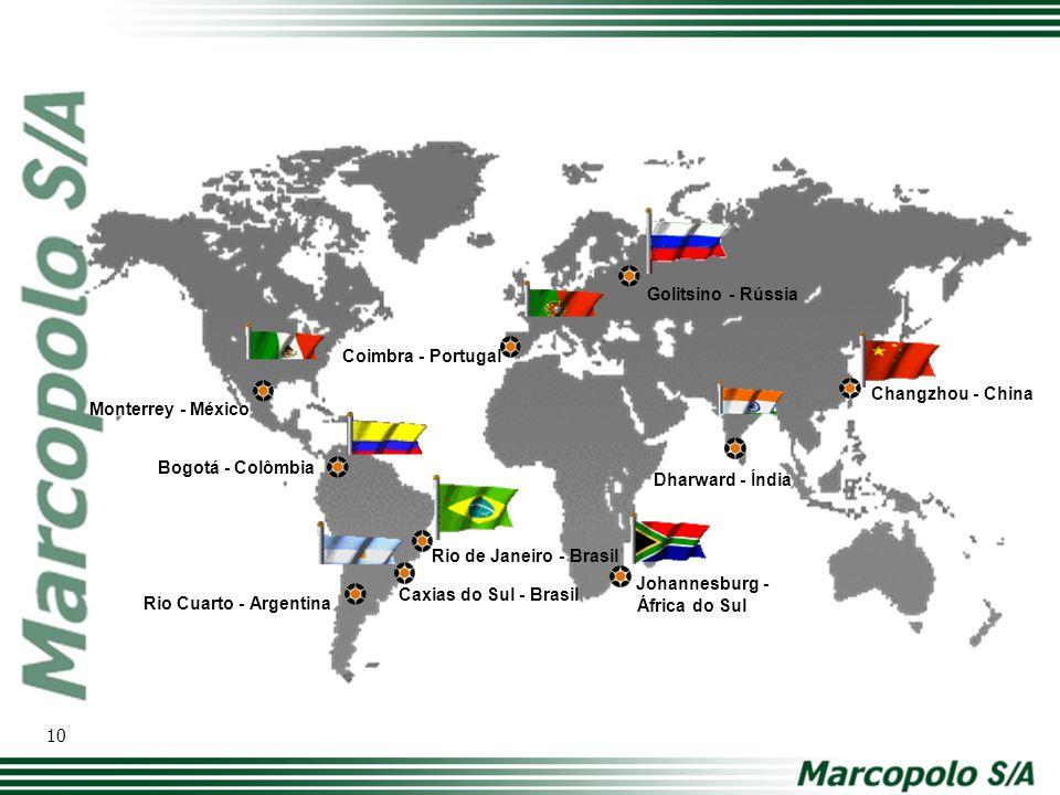 Rio Cuarto - Argentina Caxias do Sul - Brasil Rio de Janeiro - Brasil Bogotá - Colômbia Monterrey - México Coimbra - Portugal Johannesburg - África do