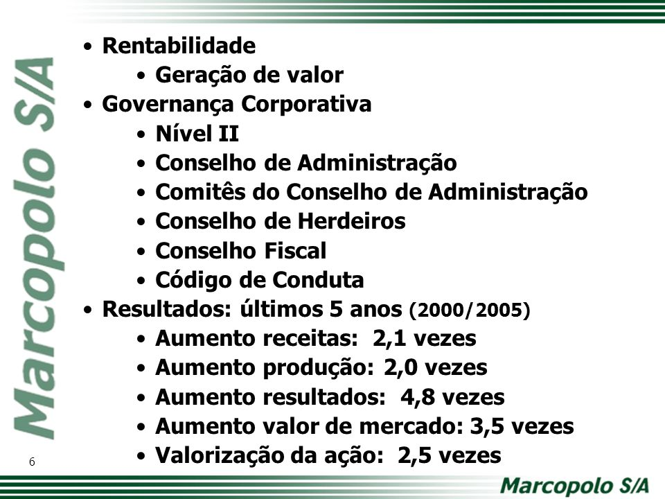 Rentabilidade Geração de valor Governança Corporativa Nível II Conselho de Administração Comitês do Conselho de Administração Conselho de Herdeiros Co