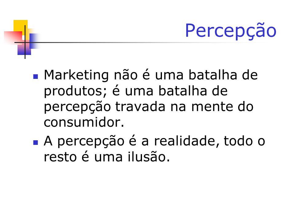 Percepção Marketing não é uma batalha de produtos; é uma batalha de percepção travada na mente do consumidor. A percepção é a realidade, todo o resto