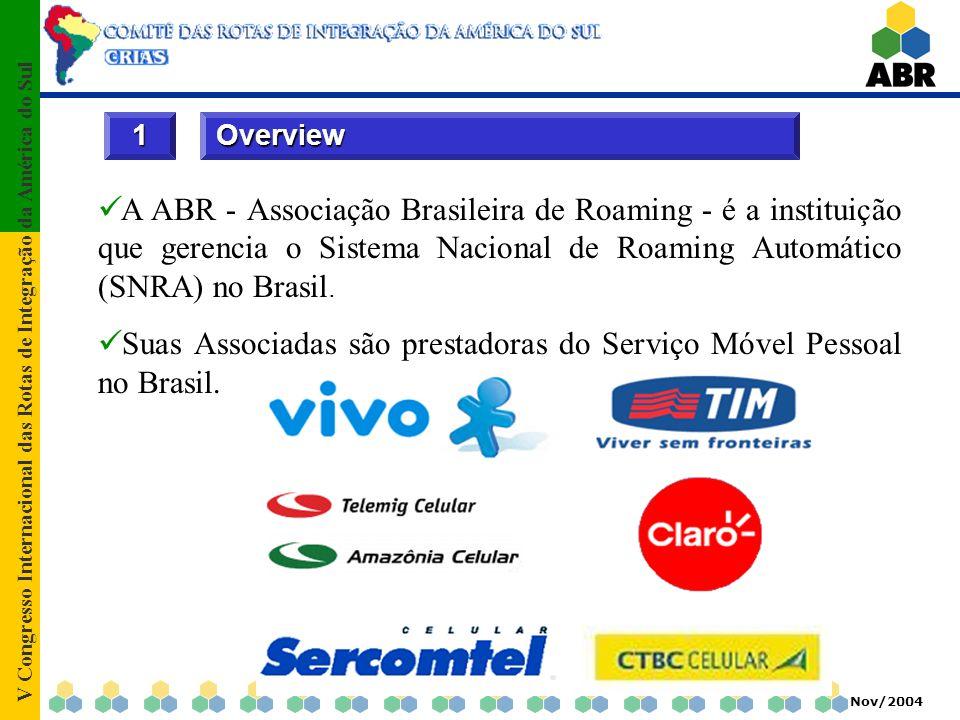 V Congresso Internacional das Rotas de Integração da América do Sul Nov/2004 Overview 1 A ABR - Associação Brasileira de Roaming - é a instituição que gerencia o Sistema Nacional de Roaming Automático (SNRA) no Brasil.