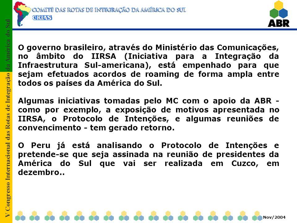 V Congresso Internacional das Rotas de Integração da América do Sul Nov/2004 O governo brasileiro, através do Ministério das Comunicações, no âmbito do IIRSA (Iniciativa para a Integração da Infraestrutura Sul-americana), está empenhado para que sejam efetuados acordos de roaming de forma ampla entre todos os países da América do Sul.