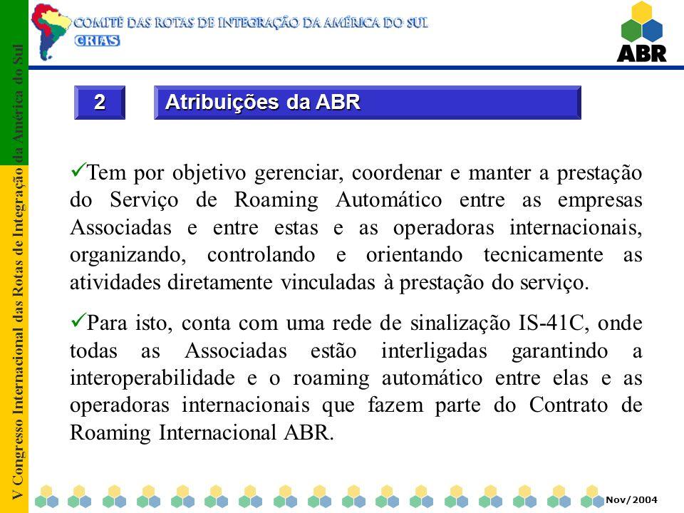 V Congresso Internacional das Rotas de Integração da América do Sul Nov/2004 3.1Rede Nacional de Roaming; 3.2Centro Nacional de Dados; 3.3Possibilidade de adesão de todas operadoras TDMA/CDMA do Brasil; 3.4Sistema Anti-Fraude de abrangência nacional; 3 Características básicas do roaming ABR