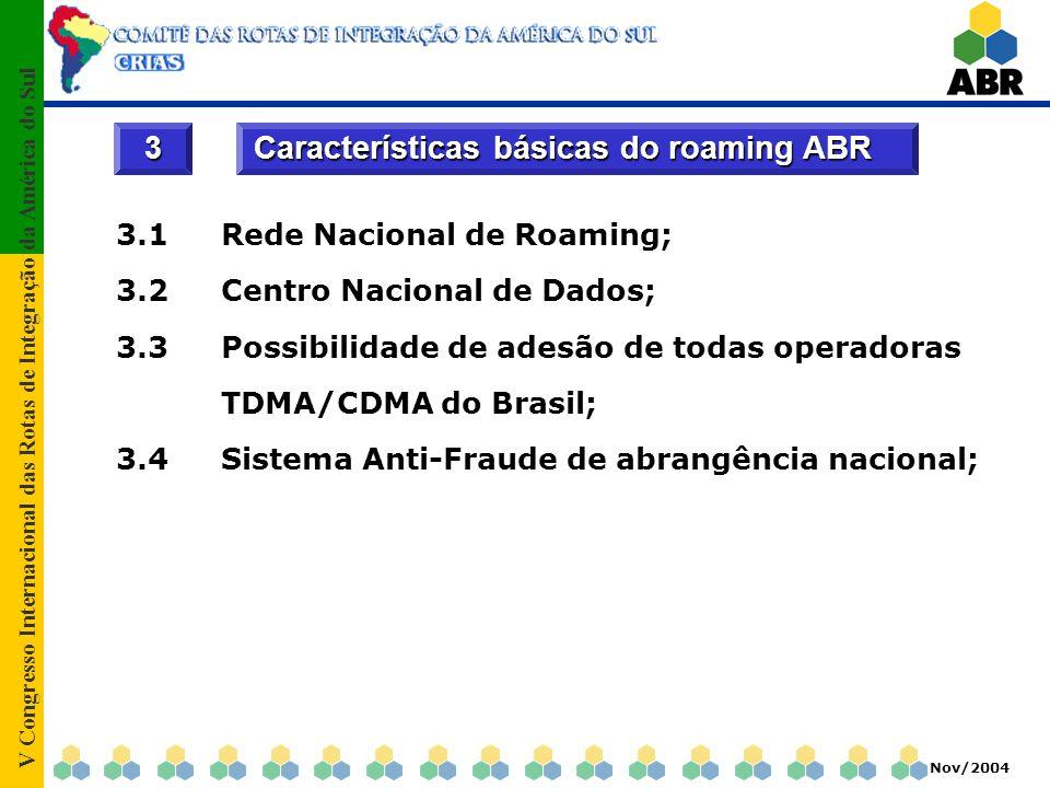 V Congresso Internacional das Rotas de Integração da América do Sul Nov/2004 Item 3.1 – Rede Nacional de Roaming A ABR possui uma Rede Nacional de Roaming, totalmente redundante, interligando todas as operadoras TDMA/CDMA no Brasil, garantindo o roaming em todo o território brasileiro; Esta estrutura de rede centralizada permite uma rápida interligação dos parceiros de roaming da América do Sul com o Brasil.