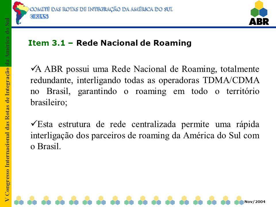 V Congresso Internacional das Rotas de Integração da América do Sul Nov/2004 Item 3.1 – Rede Nacional de Roaming A ABR possui uma Rede Nacional de Roa