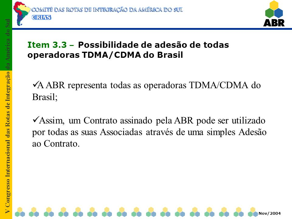 V Congresso Internacional das Rotas de Integração da América do Sul Nov/2004 Item 3.4 – Sistema Anti-Fraude de abrangência nacional A ABR possui contratado junto a Hp em regime de outsourcing um sistema capaz de receber 100% dos CDRs realizados em roaming, e detectar chamadas suspeitas de fraude; Além do sistema que emite alarmes, a ABR possui uma equipe de analistas de fraude em regime 24x7x365 que garante a rapidez necessária para dirimir os efeitos de uma eventual fraude.