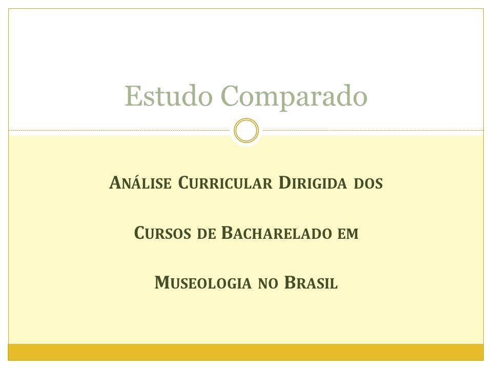 A NÁLISE C URRICULAR D IRIGIDA DOS C URSOS DE B ACHARELADO EM M USEOLOGIA NO B RASIL Estudo Comparado