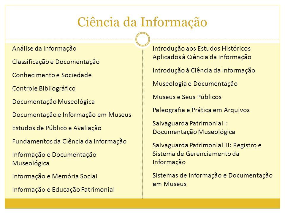 Ciência da Informação Análise da Informação Classificação e Documentação Conhecimento e Sociedade Controle Bibliográfico Documentação Museológica Docu