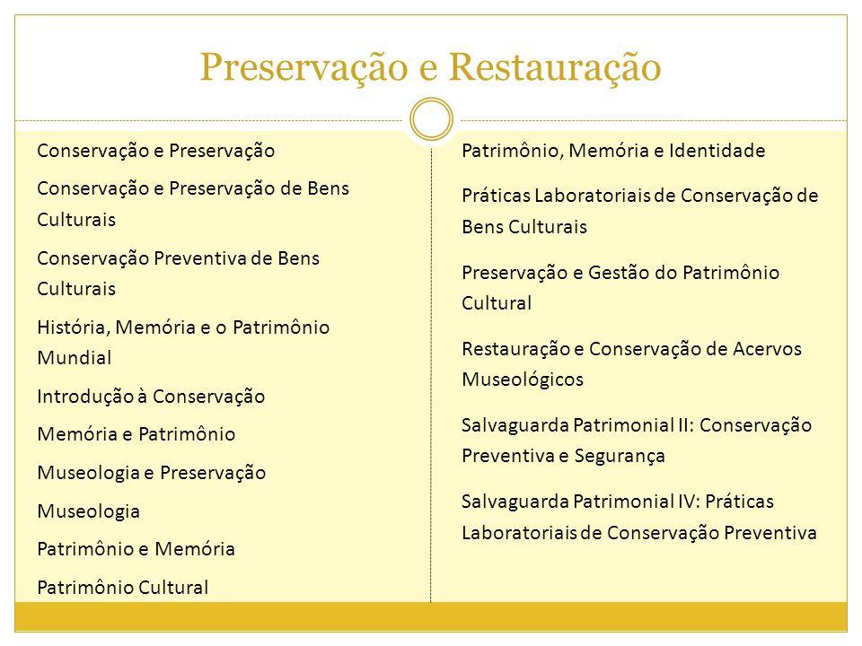 Preservação e Restauração Conservação e Preservação Conservação e Preservação de Bens Culturais Conservação Preventiva de Bens Culturais História, Mem