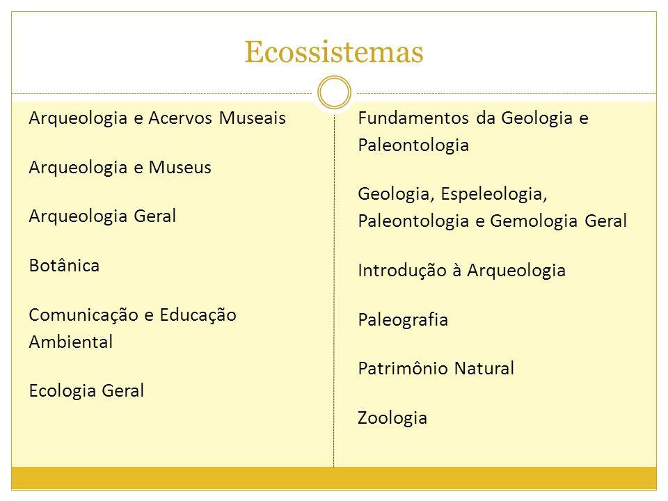 Ecossistemas Arqueologia e Acervos Museais Arqueologia e Museus Arqueologia Geral Botânica Comunicação e Educação Ambiental Ecologia Geral Fundamentos