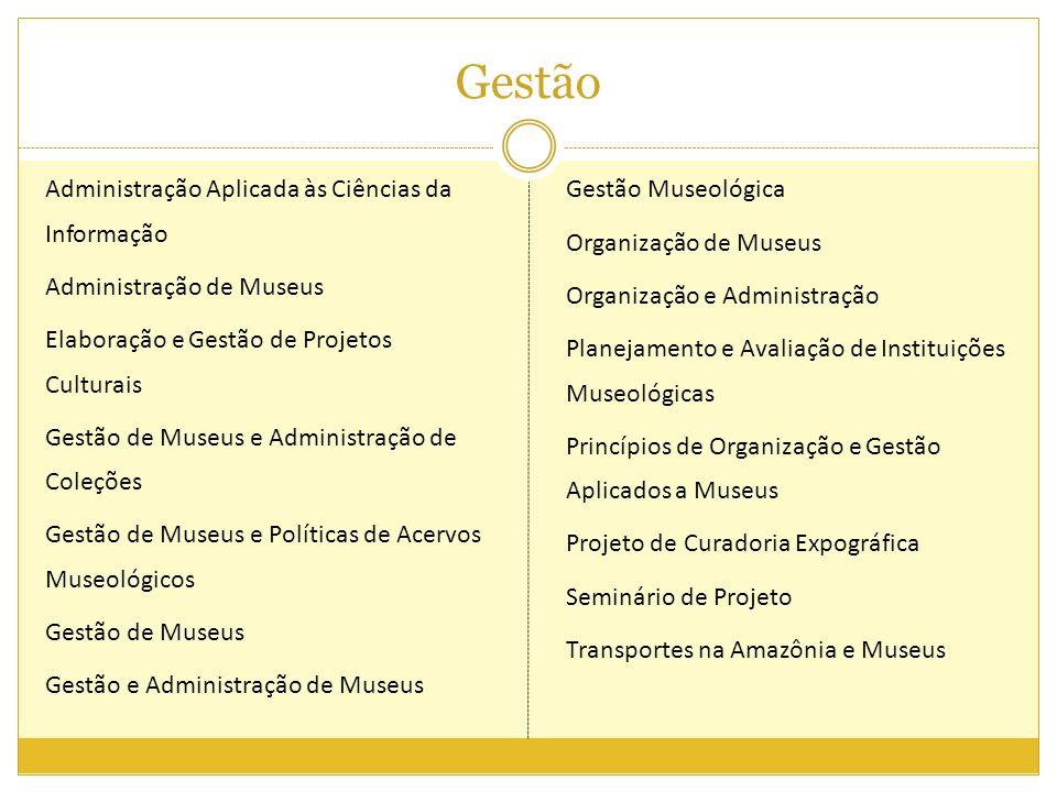 Gestão Administração Aplicada às Ciências da Informação Administração de Museus Elaboração e Gestão de Projetos Culturais Gestão de Museus e Administr