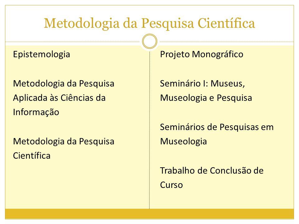 Metodologia da Pesquisa Científica Epistemologia Metodologia da Pesquisa Aplicada às Ciências da Informação Metodologia da Pesquisa Científica Projeto