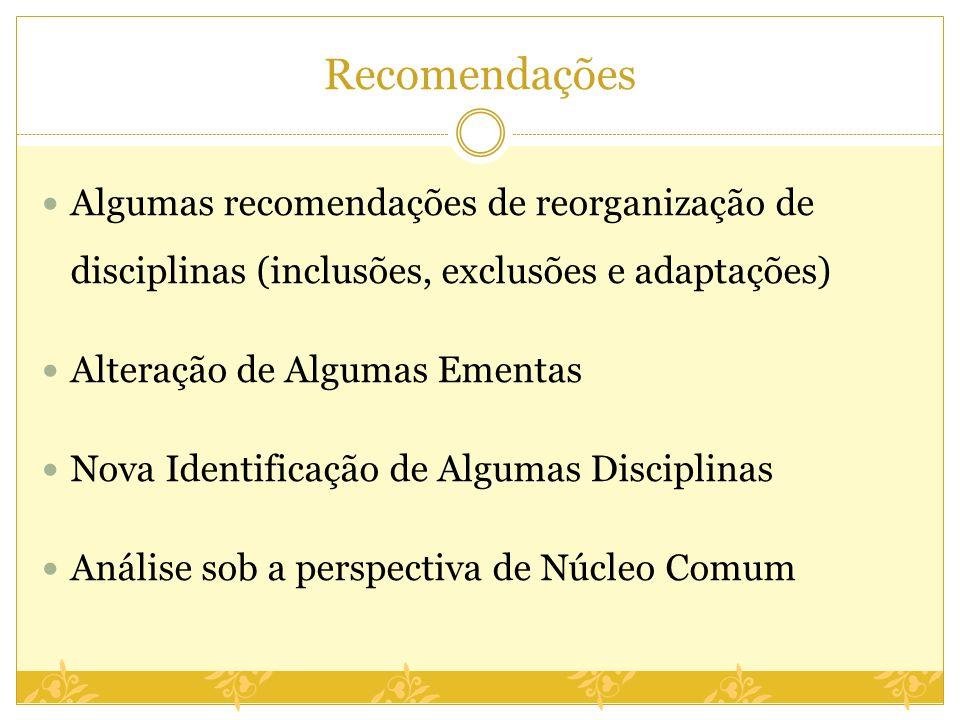 Recomendações Algumas recomendações de reorganização de disciplinas (inclusões, exclusões e adaptações) Alteração de Algumas Ementas Nova Identificaçã