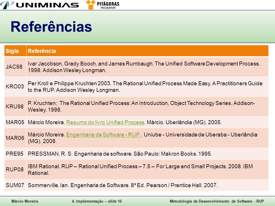 Márcio Moreira4. Implementação – slide 16Metodologia de Desenvolvimento de Software - RUP Referências SiglaReferência JAC98 Ivar Jacobson, Grady Booch