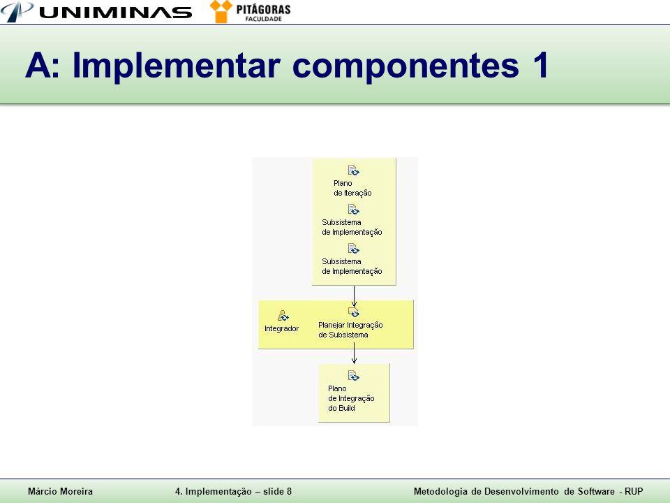 Márcio Moreira4. Implementação – slide 8Metodologia de Desenvolvimento de Software - RUP A: Implementar componentes 1