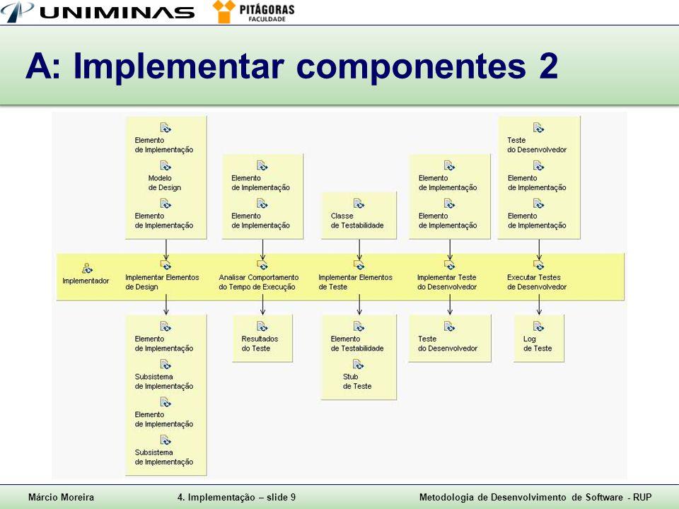 Márcio Moreira4. Implementação – slide 9Metodologia de Desenvolvimento de Software - RUP A: Implementar componentes 2