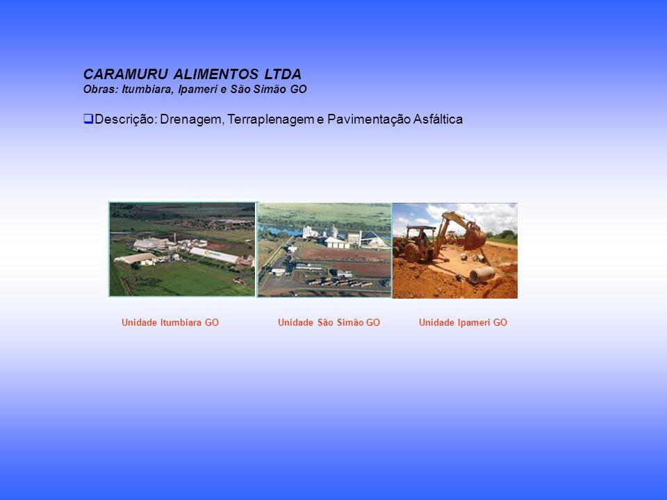 CARAMURU ALIMENTOS LTDA Obras: Itumbiara, Ipameri e São Simão GO Descrição: Drenagem, Terraplenagem e Pavimentação Asfáltica Unidade Itumbiara GO Unid