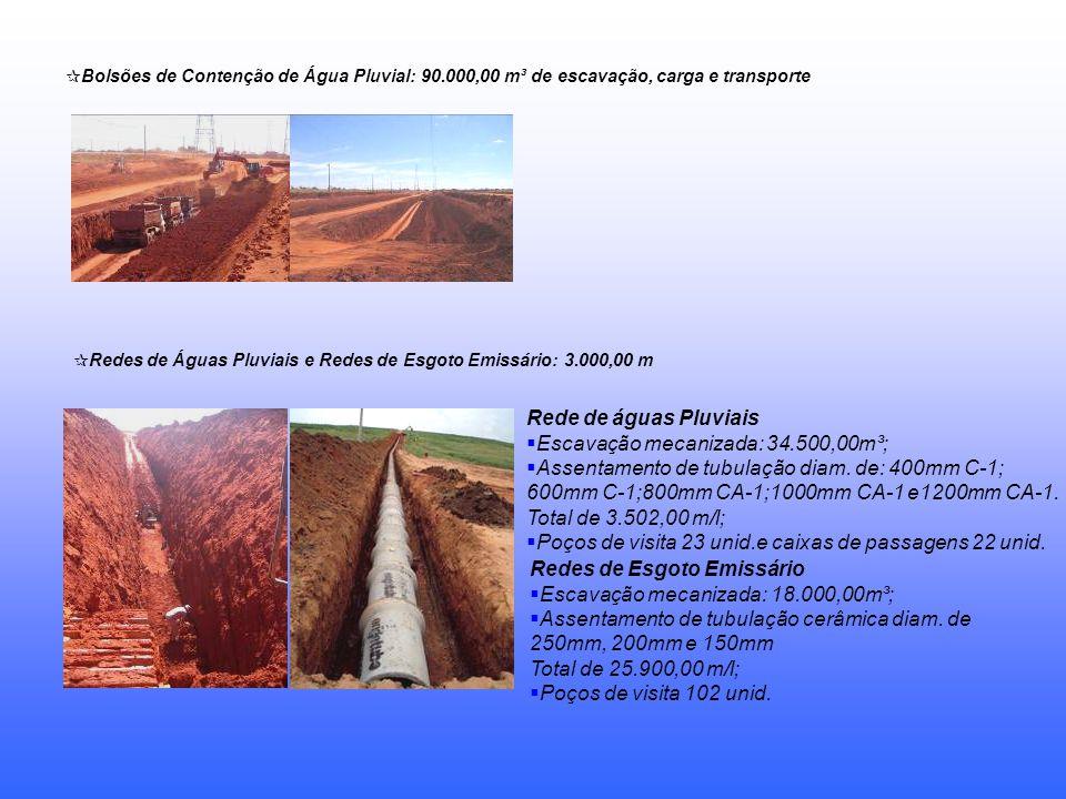 Bolsões de Contenção de Água Pluvial: 90.000,00 m³ de escavação, carga e transporte Redes de Águas Pluviais e Redes de Esgoto Emissário: 3.000,00 m Re