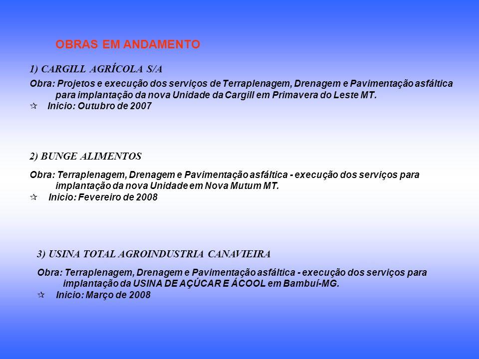 OBRAS EM ANDAMENTO 1) CARGILL AGRÍCOLA S/A Obra: Projetos e execução dos serviços de Terraplenagem, Drenagem e Pavimentação asfáltica para implantação