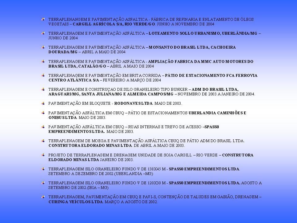 OBRAS COMERCIAIS CURINGA VEÍCULOS LTDA Concessionária FIAT - Uberlândia – MG Descrição: Edificação com área de 7.109,00 m² Serviços Executados: Terraplenagem, drenagem, contenção de taludes em Gabião, Pavimentação Asfáltica e em PAVI-S.