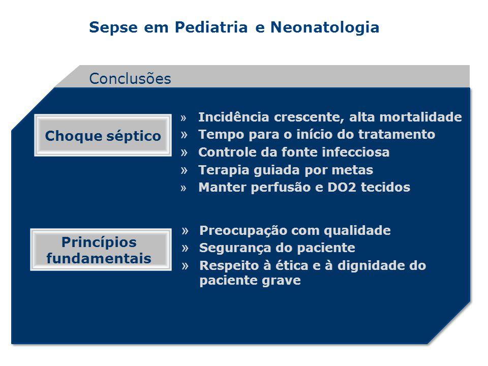 Sepse em Pediatria e Neonatologia Conclusões » Incidência crescente, alta mortalidade » Tempo para o início do tratamento » Controle da fonte infeccio