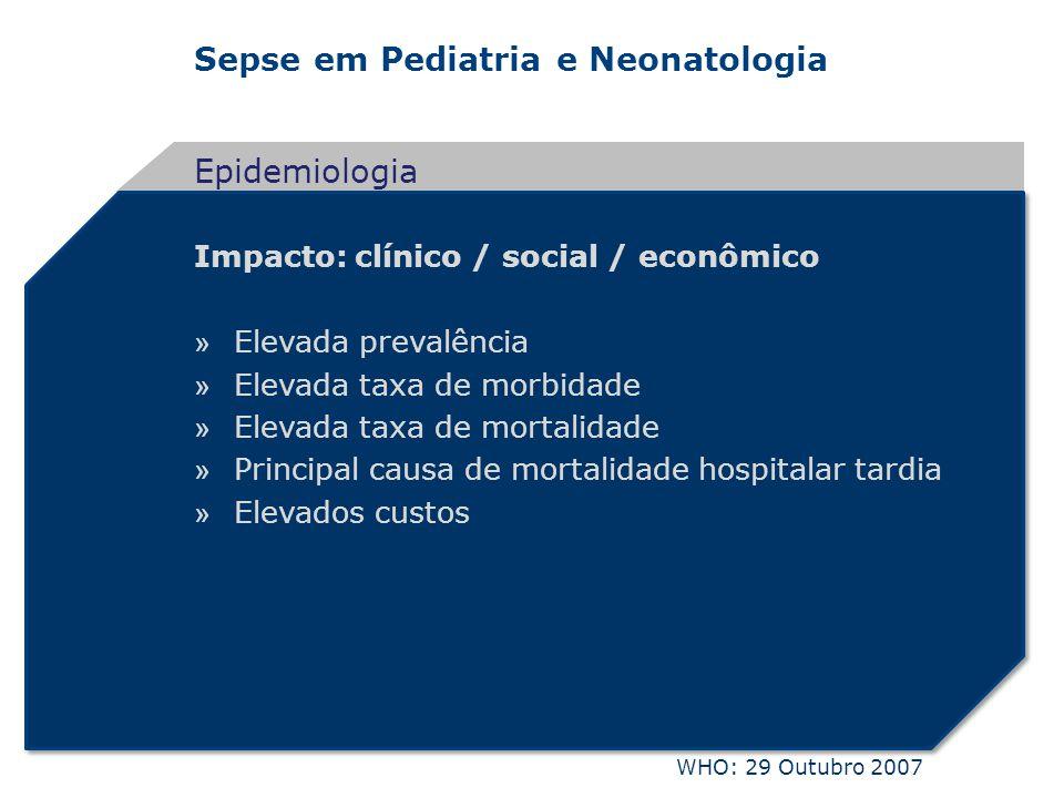 Sepse em Pediatria e Neonatologia Impacto: clínico / social / econômico » Elevada prevalência » Elevada taxa de morbidade » Elevada taxa de mortalidad