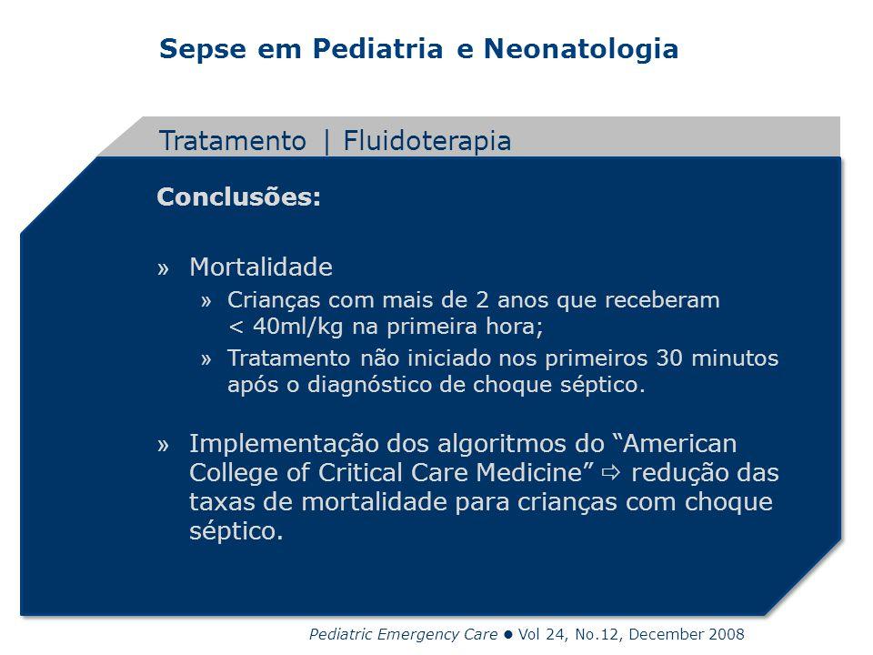Sepse em Pediatria e Neonatologia Conclusões: » Mortalidade » Crianças com mais de 2 anos que receberam < 40ml/kg na primeira hora; » Tratamento não i