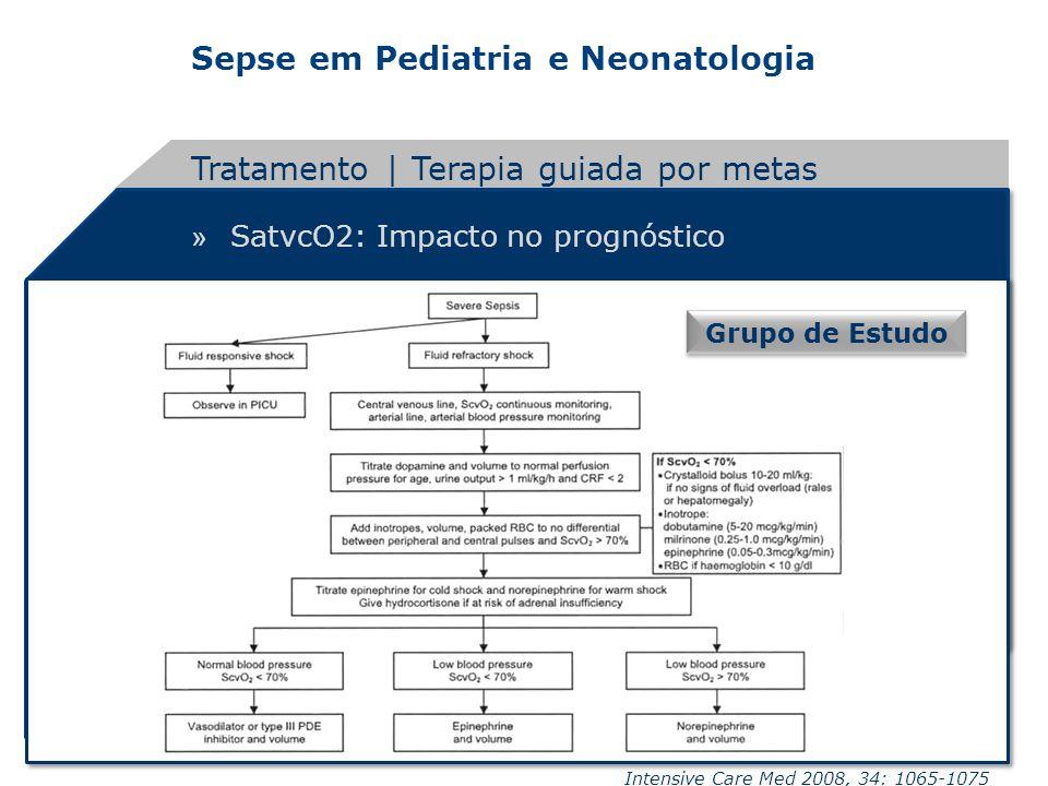Sepse em Pediatria e Neonatologia » SatvcO2: Impacto no prognóstico Tratamento | Terapia guiada por metas Grupo de Estudo Intensive Care Med 2008, 34: