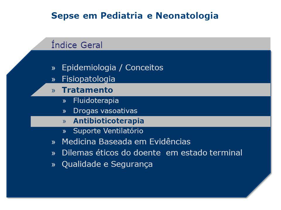 Sepse em Pediatria e Neonatologia » Epidemiologia / Conceitos » Fisiopatologia » Tratamento » Fluidoterapia » Drogas vasoativas » Antibioticoterapia »