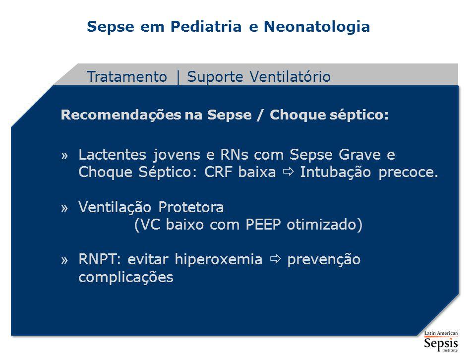 Sepse em Pediatria e Neonatologia Recomendações na Sepse / Choque séptico: » Lactentes jovens e RNs com Sepse Grave e Choque Séptico: CRF baixa Intuba