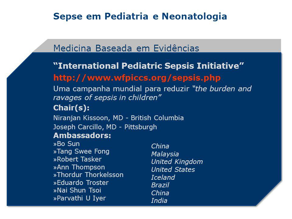 Sepse em Pediatria e Neonatologia International Pediatric Sepsis Initiative http://www.wfpiccs.org/sepsis.php Uma campanha mundial para reduzir the bu