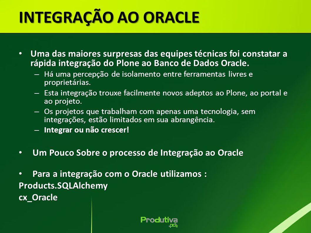 Uma das maiores surpresas das equipes técnicas foi constatar a rápida integração do Plone ao Banco de Dados Oracle. Uma das maiores surpresas das equi