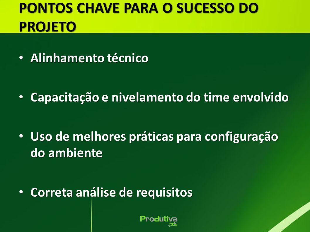 Alinhamento técnico Alinhamento técnico Capacitação e nivelamento do time envolvido Capacitação e nivelamento do time envolvido Uso de melhores prátic