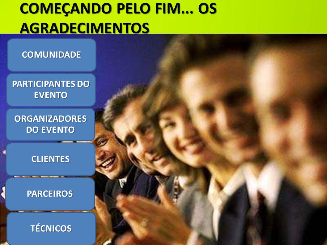 COMEÇANDO PELO FIM... OS AGRADECIMENTOS COMUNIDADE ORGANIZADORES DO EVENTO CLIENTES PARCEIROS TÉCNICOS PARTICIPANTES DO EVENTO
