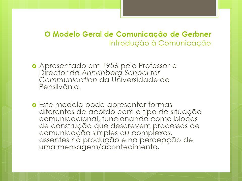 O Modelo Geral de Comunicação de Gerbner Introdução à Comunicação Apresentado em 1956 pelo Professor e Director da Annenberg School for Communication